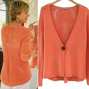 Soft Surroundings Coral Knit One Button Cardi   PM